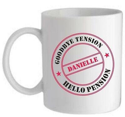 PERSONALISED RETIREMENT GIFT FUN MUG CUP COASTER GOODBYE TENSION HELLO PENSION