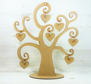 Tree swirl word tree family 7 hanging heart craft wood for Wooden heart wall decor
