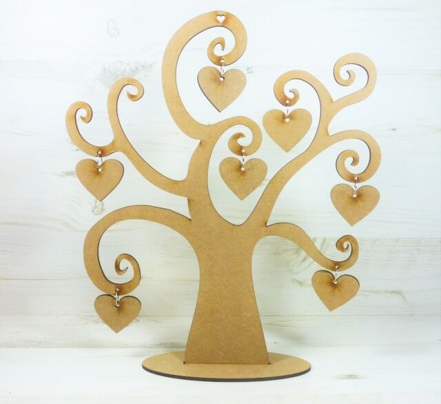 Tree SWIRL WORD TREE FAMILY 7 HANGING Heart craft wood wall art MDF Wooden