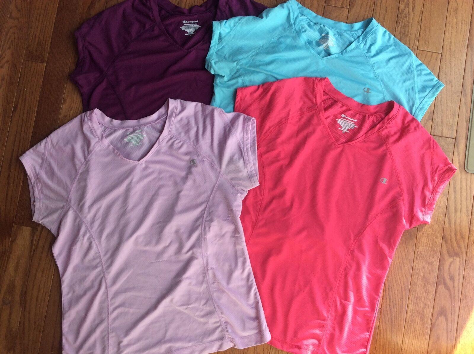 Women's Champion Short Sleeve Shirts Medium   Large  lot of 4