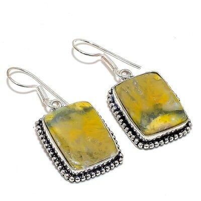 Boho Silver Earring Gift Idea Top Quality Bumblebee Gemstone Handmade Vintage Earring 925 Sterling Earring Yellow Stone Earring
