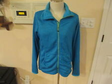 Cabela's blue Full zip up jacket women's L Large reg terry cloth long sleeve