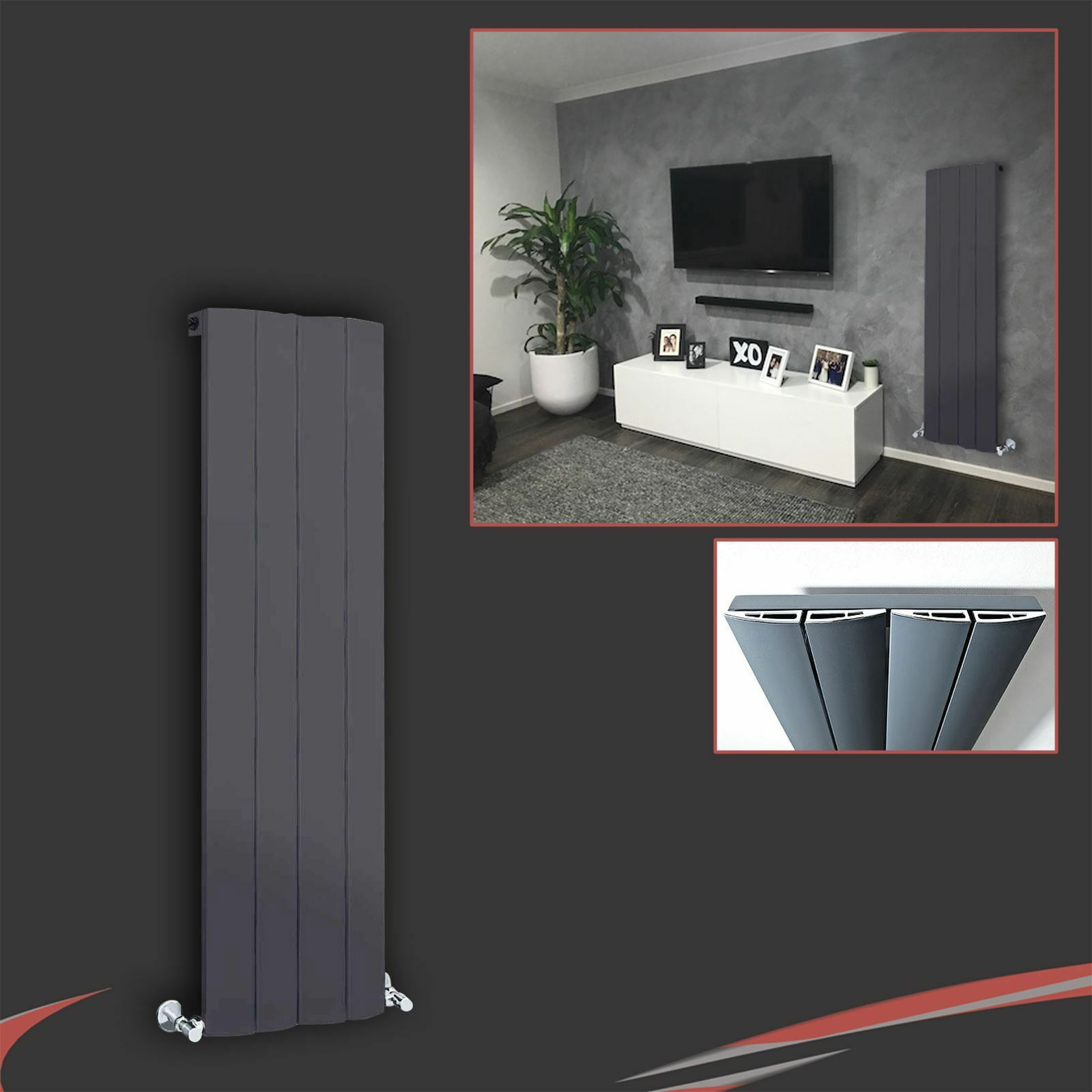 375 mm (W) x 1200 mm (H)  WAVE  anthracite vertical Aluminium Radiateur - 2521 BTU