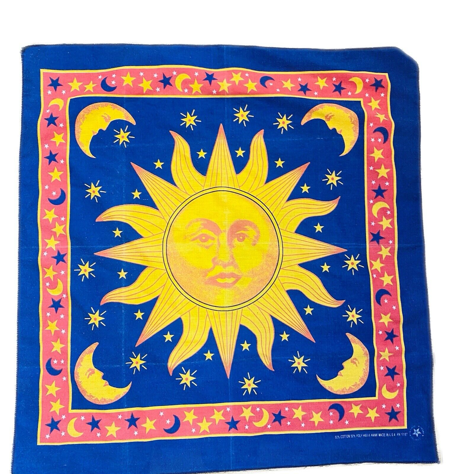 Vintage Sun Celestial Hanky 20x20 Hav A Hank Bandana Face Covering Handkerchief