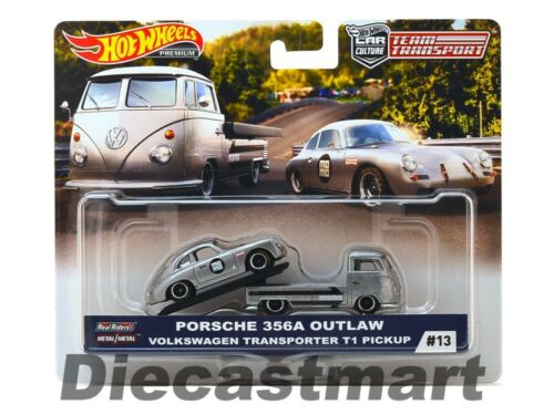 Hot Wheels 1:64 Team Transport VW T1 Transporter Pickup W//Porsche 356 Outlaw