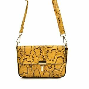 Las Handbag Yellow Snakeskin
