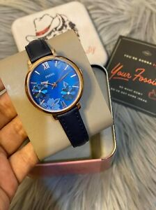 Fossil Jacqueline Three-Hand Navy Leather Watch ES4673 36mm