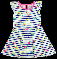 Jumping Beans White And Striped Flower Toddler Girls Dress Size 2t
