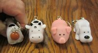 3 Naughty Farm Animals Pooping Keychain Dog Pig Or Cow Squeeze Poop Key Ring