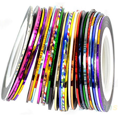 Mixed Colors 10 Rolls Nail Art Uv Gel Tips Stripe Tape Line Stickers Diy Decor