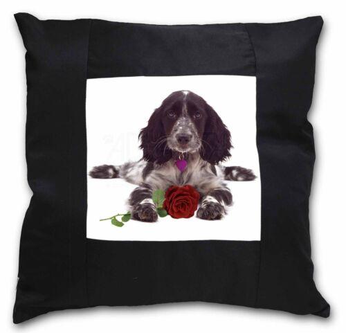 Blue Roan Cocker Spaniel with Rose Black Border Satin Feel Cushion AD-SC13R-CSB