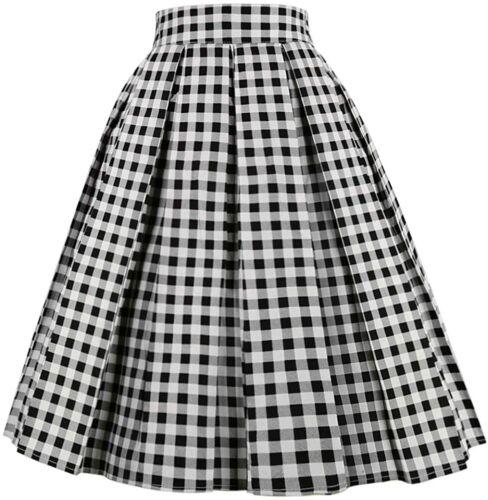 OBBUE Dresstore Vintage Pleated Skirt Floral A-line Printed Midi Skirts with Poc