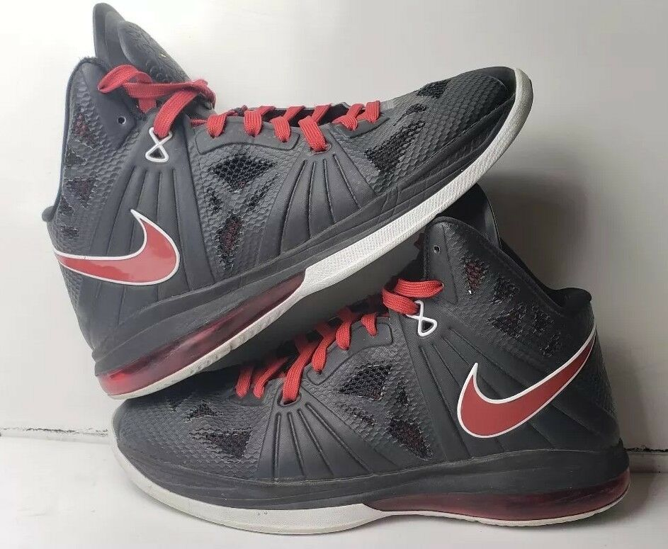 PRE OWNED NIKE LEBRON 8 PS PLAYOFF BLACK RED WHITE 441946-001 SIZE 9.5 NO BOX