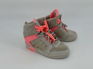 Adidas-Women-s-High-Top-Sneaker-W-Concealed-Wedge-Sz-6-US-Neo-Label-Suede-Pink