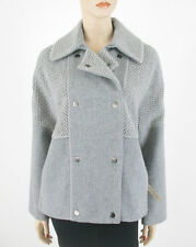Vince Sherpa Boucle Coat Heather Gray Wool Blend S $695 8402 BM7