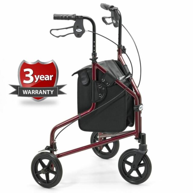 Days 240L Lightweight 3 Wheel Walker with Brakes, Bag/Basket/Tray - RED