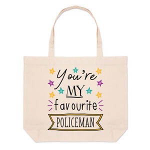 ffd5d05d2702 You re My Favourite Policeman Stars Large Beach Tote Bag - Police ...