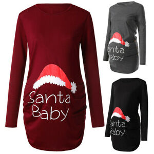 Women Casual Long Sleeve Christmas Print Ruched Maternity Nursing Top for Pregnant Blouse Size:XL, Gray