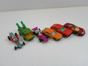 Lesney-Matchbox-Slingshot-Dragster-Toe-Joe-Formula-1-BMC-Used-Loose-Lot-of-6-vtg