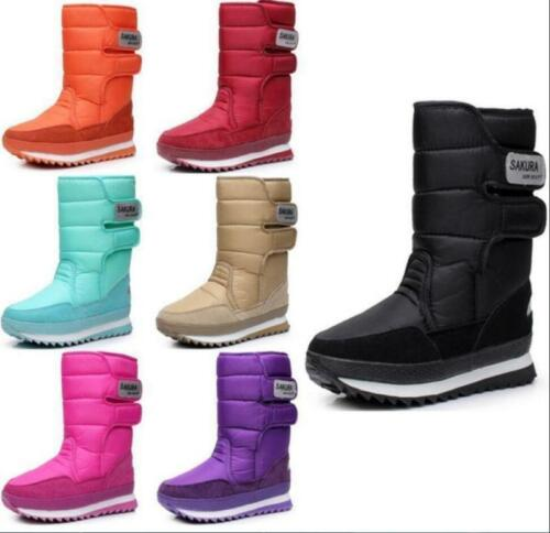 HOT WOMENS LADIES FUR LINED QUILTED RAIN MOON SKI WINTER SNOW BOOTS SHOES R35