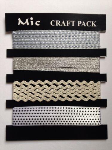 4 x 1 m Argent Satin Rubans /& GARNITURES pour Fabrication Carte Couture Craft Job Lot