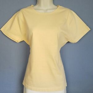 Coldwater-Creek-T-Shirt-Womens-M-Yellow-Cotton-Scoop-Neck-Short-Sleeve-Casual