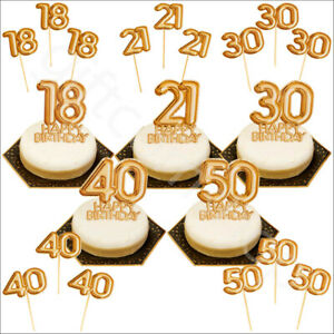 Image Is Loading Gold Happy Birthday Cake Topper Decoration Cupcake Pick