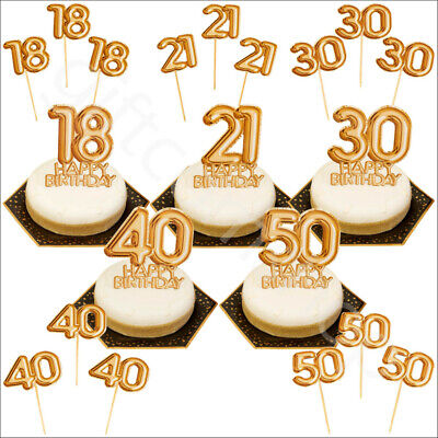 Awesome Gold Happy Birthday Cake Topper Decoration Cupcake Pick 18Th 21St Funny Birthday Cards Online Unhofree Goldxyz