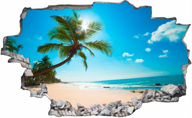 Strand Palmen Meer 3D Look Wandtattoo Wandsticker Aufkleber Sticker C0321