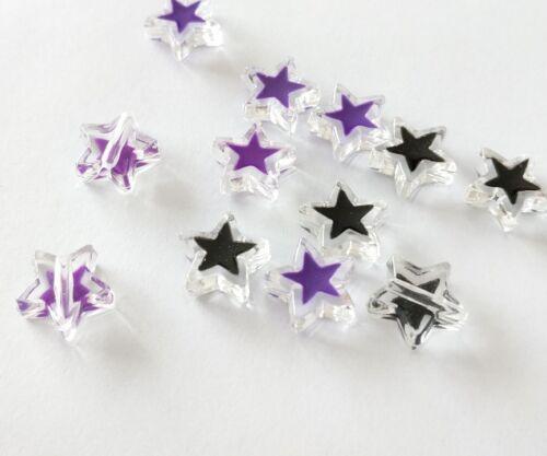 20 piezas cuentas de plástico acrílico en forma de estrella púrpura y negro 12mm