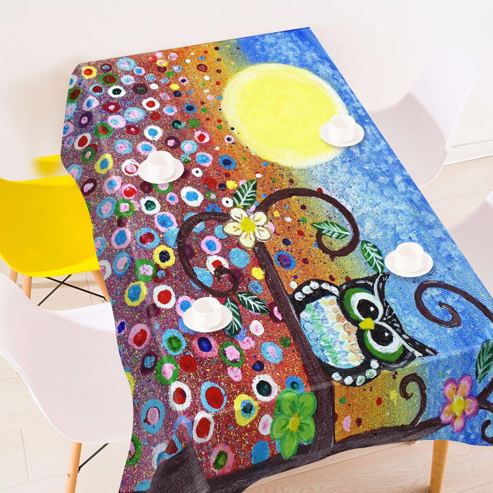 3D Cartoon Hibou Nappe Table Cover Cloth fête d'anniversaire AJ papier peint Royaume-Uni Citron