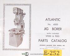 Atlantic No 4000 Jig Borer Parts List And Drawings Manual