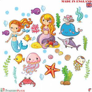Wall-Stickers-Girls-Bedroom-Mermaid-Childrens-Kids-Baby-Nursery-Art-Decals-Mural