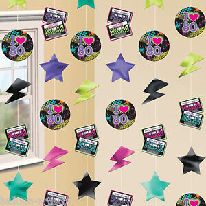 6-Totally-80-039-s-Disco-Punk-Birthday-Party-Hanging-Cutout-Strings-Decorations