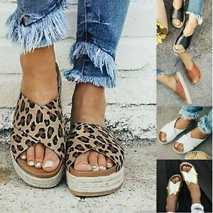 Ladies-Wedge-Flatform-Espadrille-Sandals-Fashion-Beach-Shoes-Flip-Flops-Slipper