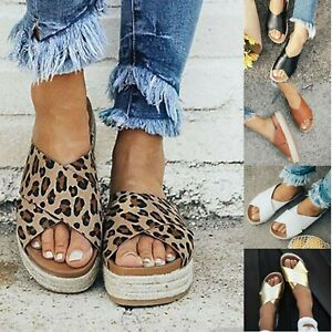 Women-039-s-Wedge-Flatform-Espadrille-Sandals-Beach-Casual-Shoes-Flip-Flops-Slippers