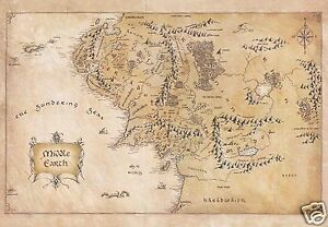 The Lord of the Rings Middle earth Map Waxed Parchment Paper