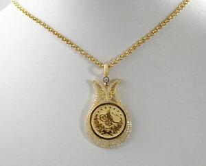 beeindruckende-585er-Gold-Halskette-amp-Anhaenger-Zirkonia-Osmanisches-Reich-14K