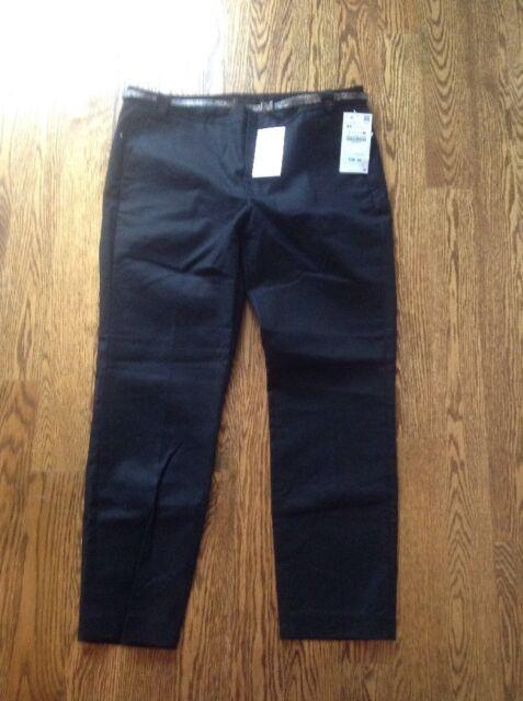 Nwt Zara Basic Collection Black Cropped Dress Pants W Belt Black 44
