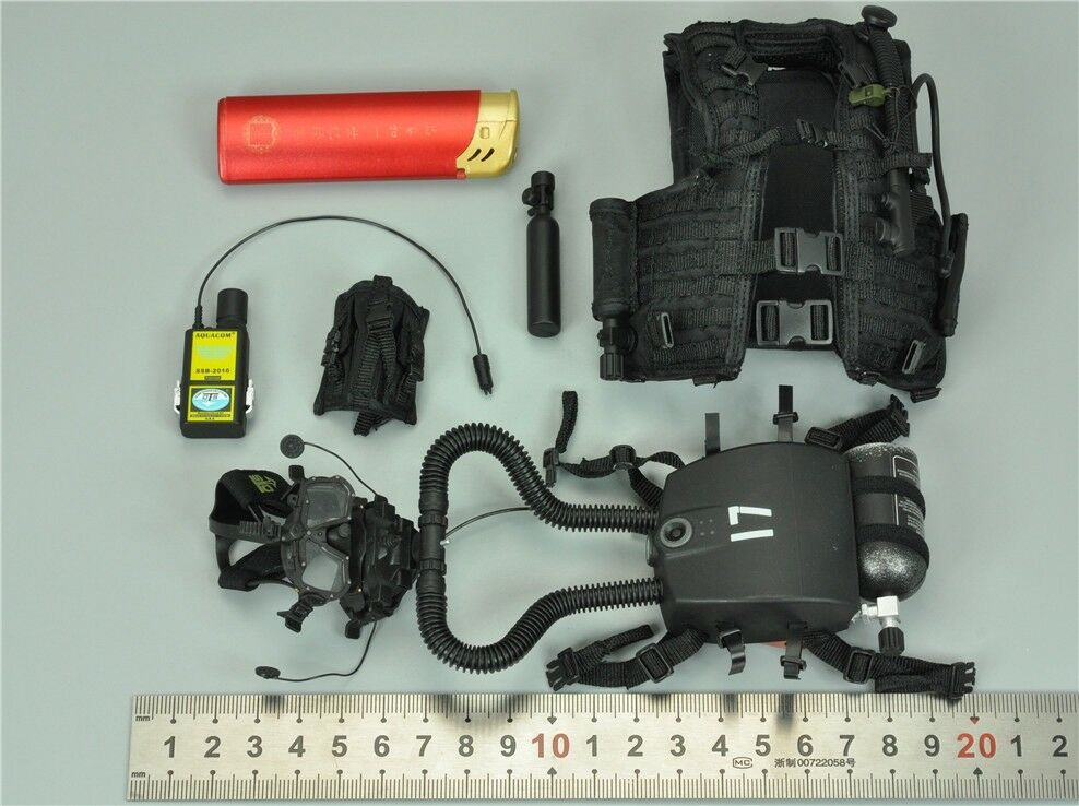 Vest & Rebreather System & Transceiver for DAM 78055 1/6 Scale Figure 12'' Nuovo