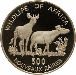 1996-Zaire-Congo-de-Plata-Prueba-500-Zaires-Okapi