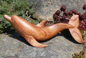 toller großer 30cm Holz DELFIN Tier Fisch Bali Flipper Handarbeit Deko Delfin11