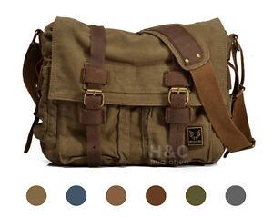 Men-039-s-Military-Canvas-Leather-Satchel-14-034-Laptop-Shoulder-School-Messenger-Bag