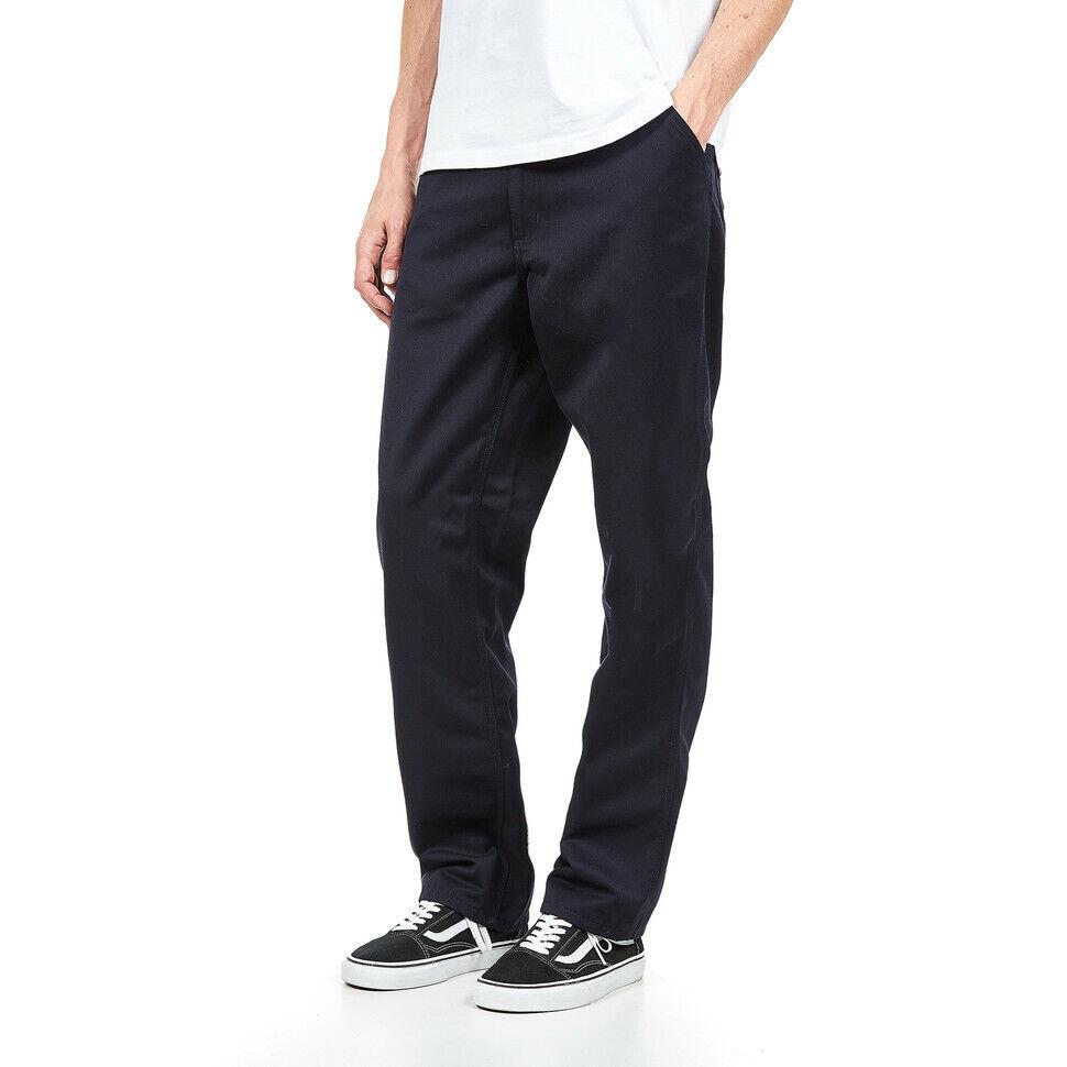 """100% De Qualité Carhartt Wip-simple Pant """"denison"""" Twill, 8.8 Oz Dark Navy Rinsed Pantalon Produits De Qualité Selon La Qualité"""