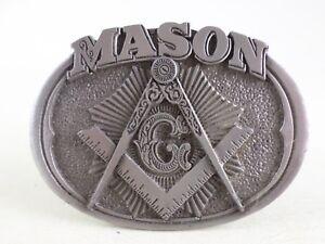 Mason-Masonic-Symbol-3D-Compass-Oval-Pewter-Belt-Buckle-USA-C-amp-J-Inc-1985
