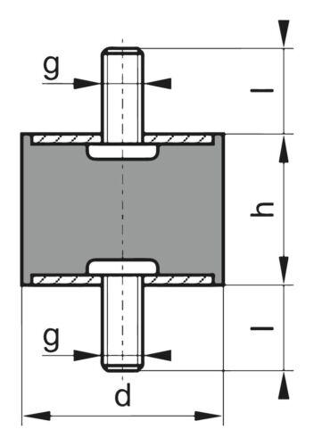 Gummi-Metall-Puffer Ausführung A 40 x 30mm M10x28