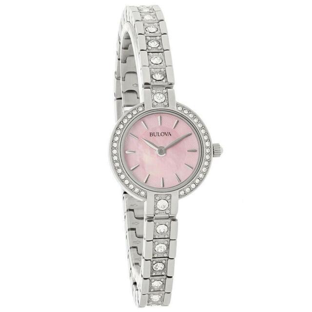 Bulova Women's Quartz Swarovski Crystal Accents Pink Dial 21mm Watch 96X131