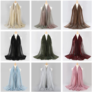 Fashion-Elastic-Spun-Gold-Polyester-Wrinkle-Hijab-Muslim-Scarf-Wrap-Shawl-New