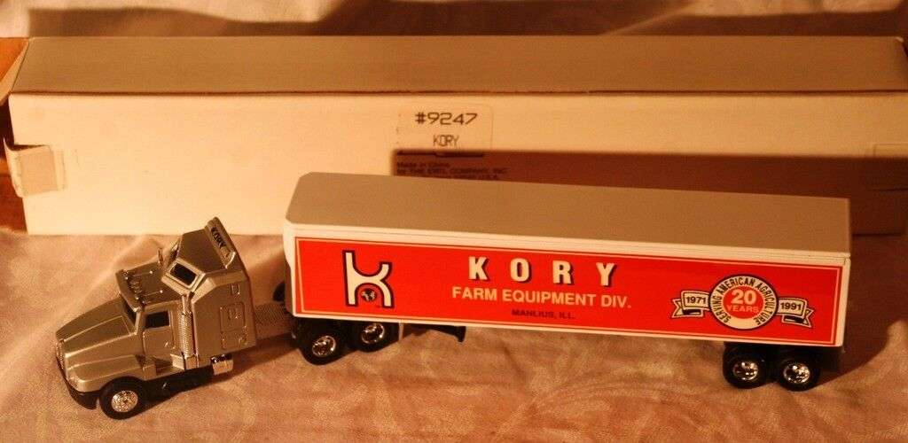 Kenworth 1 64 die cast semi cab with trailer Kory Farm equipment Mint  box
