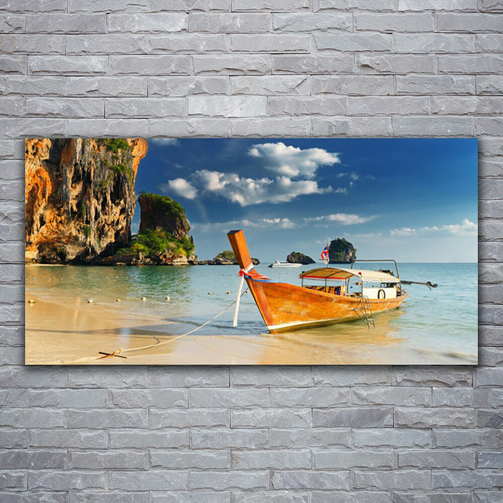 Canvas print Wall art on 120x60 Image Picture Boat Sea Landscape